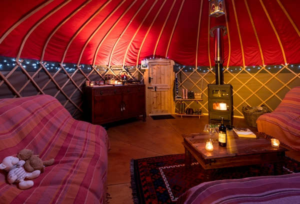 Cozy yurt interior