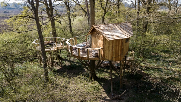 One of the Knepp Treehouses in the forest