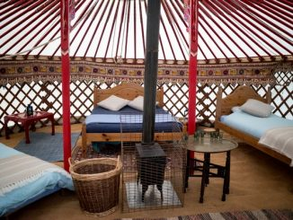 Interior of a Mongolian yurt