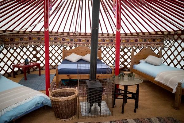 Interior of a Mongolian yurt