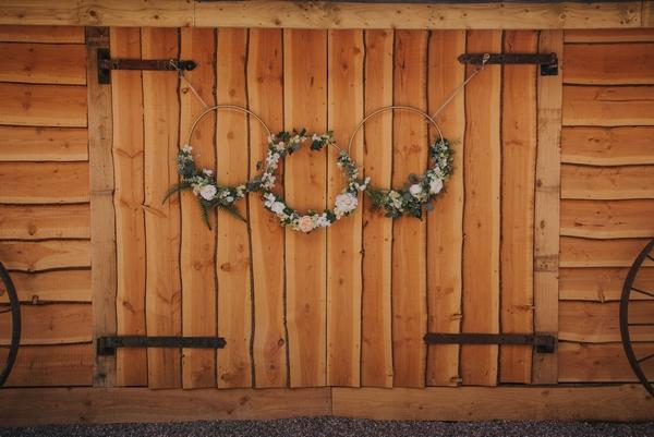 Wreaths on barn door