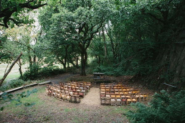 Forest set up for outdoor wedding reception