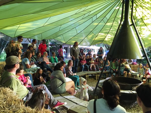 Crowd of people in tipi