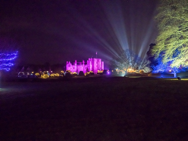 Hever Castle lit up at night