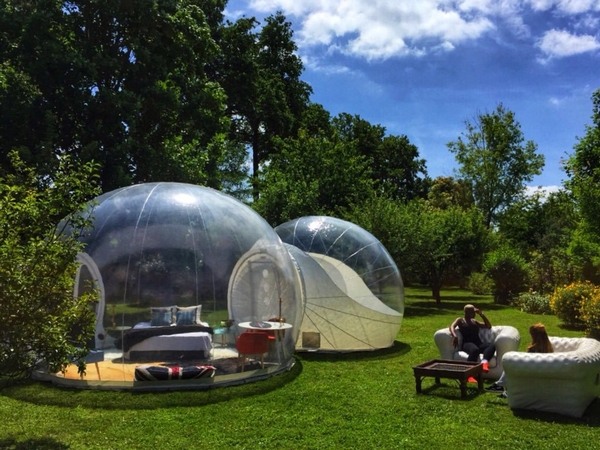 Modular inflatable bubble tent