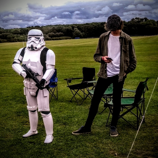 Man standing with stormtrooper