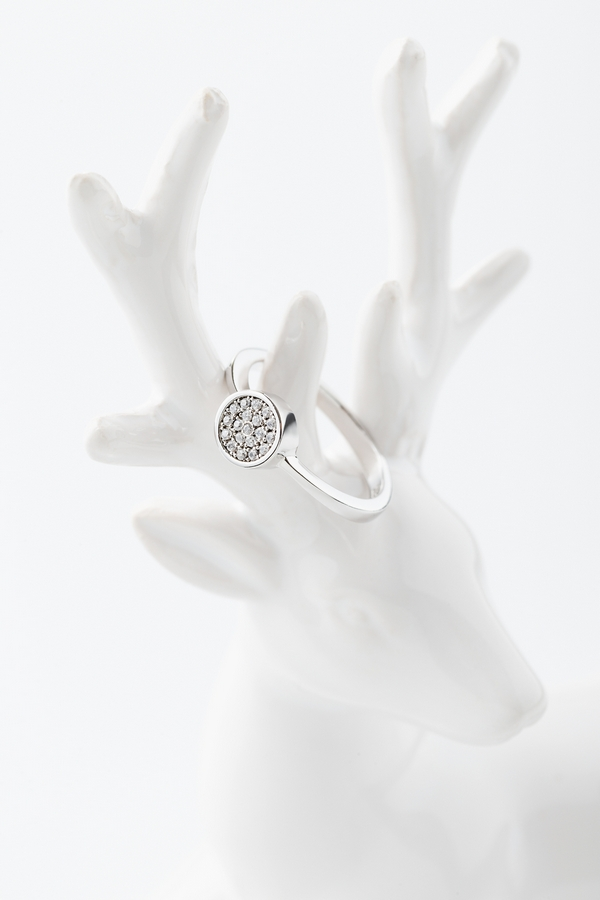 Wedding or engagement silver ring with diamonds