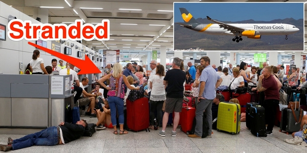 People queuing for help after the collapse of Thomas Cook