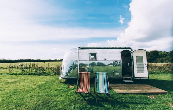 Airstream trailer with deckchairs
