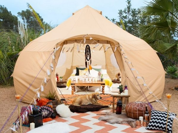 Tent decorated with Boutique Camping decorations