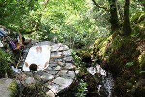 ecoYoga hot tub hidden in the woods