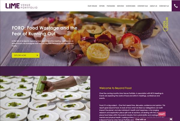 Lime venue website homepage