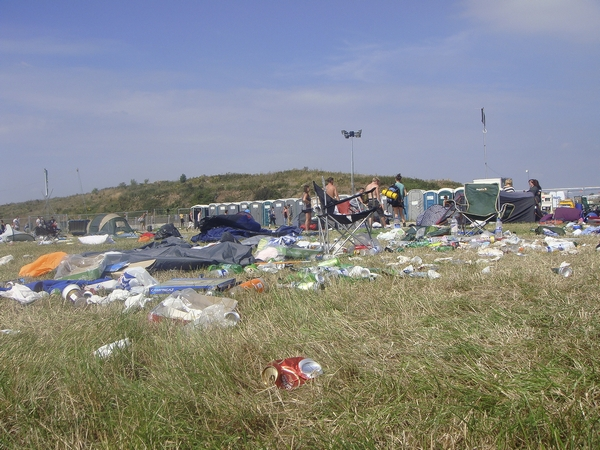 Rubbish and litter left over after summer festival