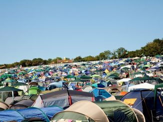 Leftover single use tents after summer festival