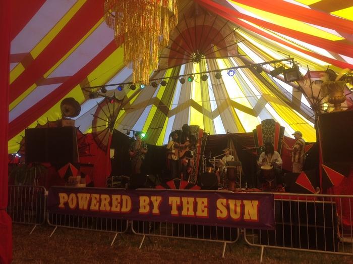 Glastonbury festival tent interior