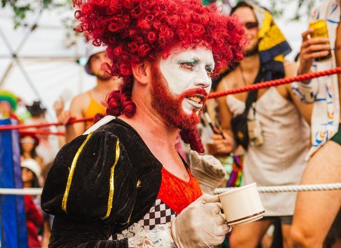 Man dressed up at Shambala Festival 2019