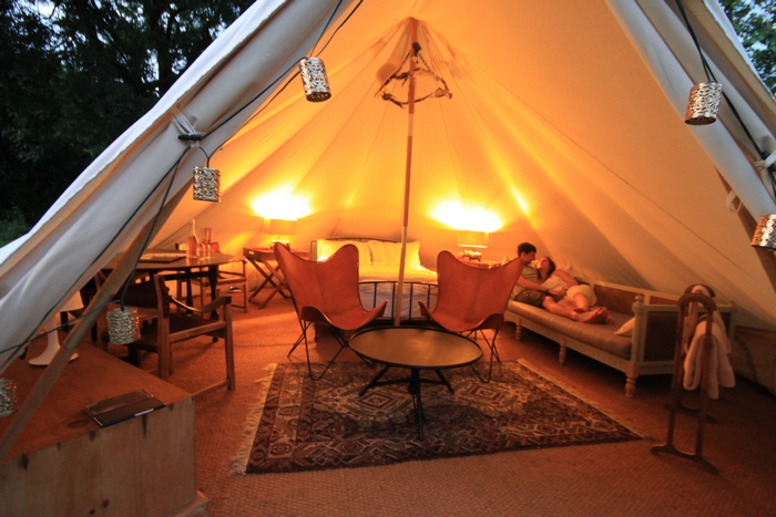 Interior decoration of tipi at Brook Meadow