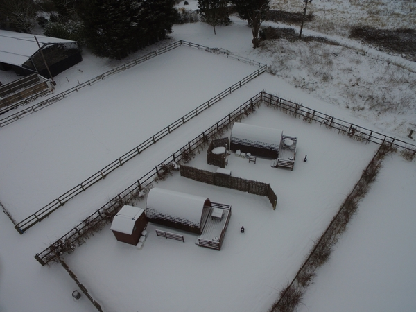 Aerial view of Lee Wick Farm in winter