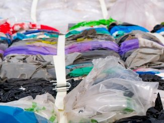 Waste plastic bags being prepared for recycling