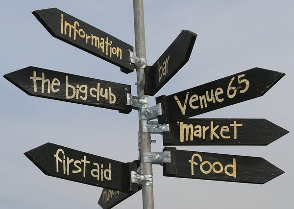 Signpost at an outdoor event