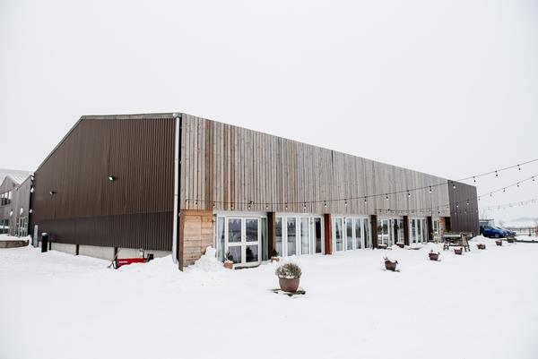 Vallum Farm barn venue in winter snow