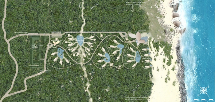 The masterplan for Wild Coast Tented Lodge which mirrors a leopard's paw prints