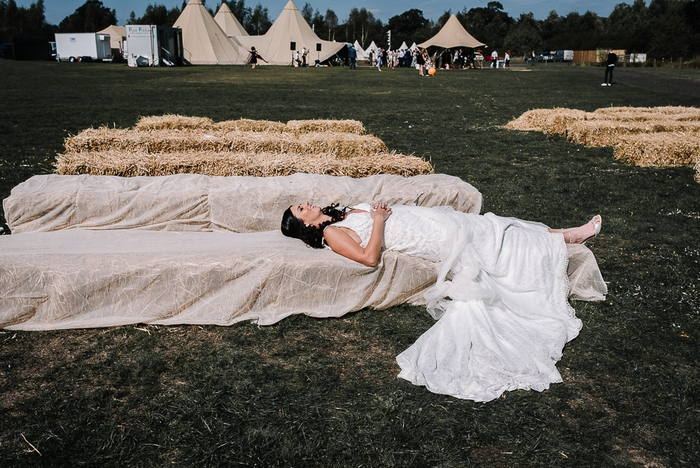 Bride at her wedding day at Alcott Farm