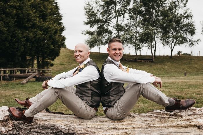 Groomsmen attending a wedding at Alcott Farm