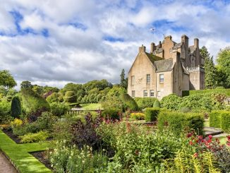 The garden of Crathes castle in Scotland, United kingdom