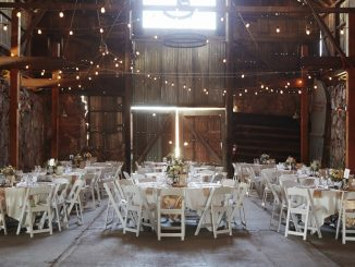 Event set up in a barn