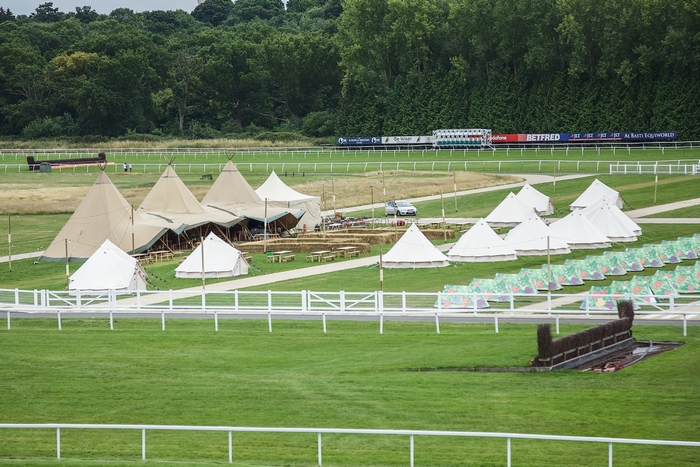 Glamping tents on Newbury Racecourse