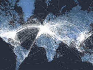 All the planes in the air, across the world, at a given moment in 2018