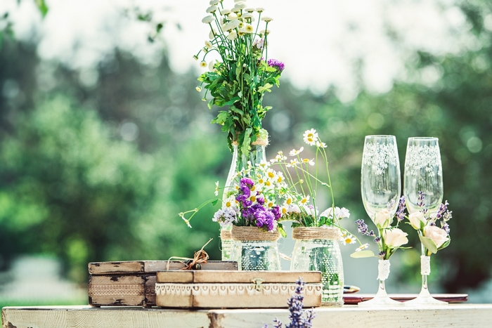 beautiful vintage wedding ceremony outdoors