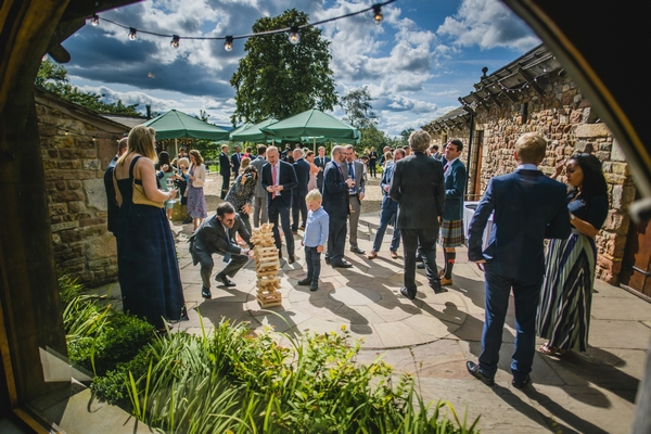 Wedding party gathered at Browsholme Hall