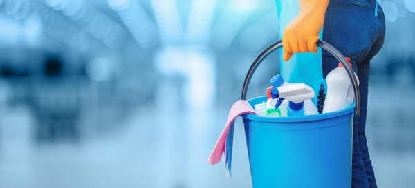 Hand holding cleaning supplies
