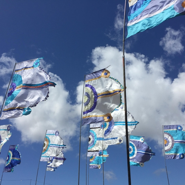 Flags flying on a sunny day