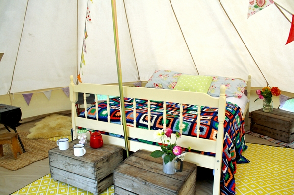 Interior of the bell tents