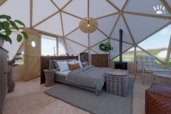 Timber glamping domes