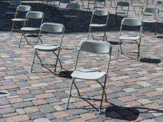Chairs sat in a social distancing format