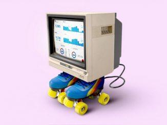 Computer on roller skates