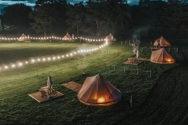 Gisburne Park estate tents at night