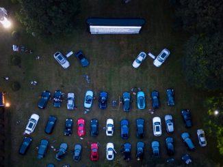 Aerial shot of drive in cinema