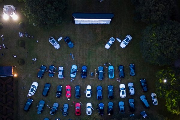 Aerial shot of drive in cinema