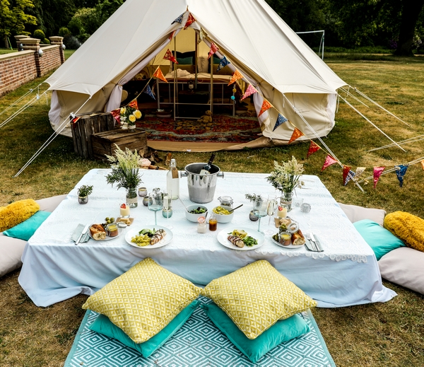 Tent set up with outdoor eating area