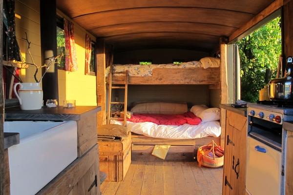 Bunk beds in the vintage caravan