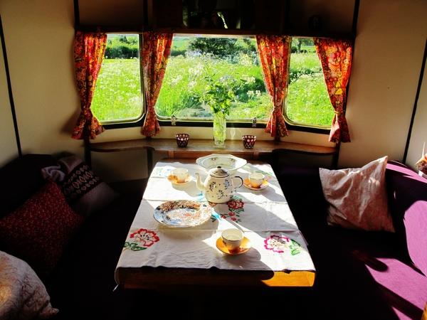 Table set in caravan