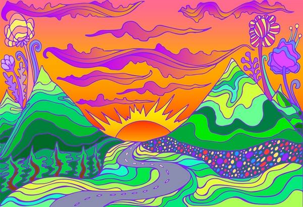 Cartoon of mountains at sunset