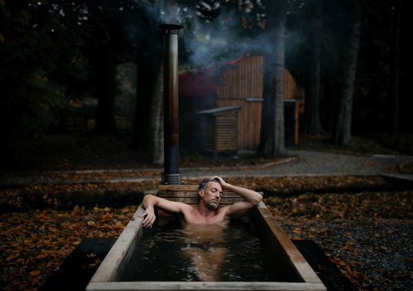 Man in outside bath