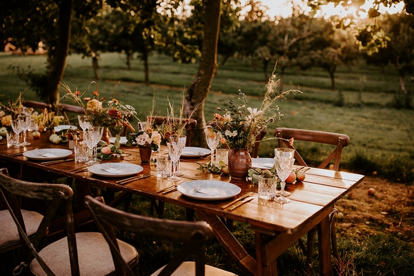 Outside table setting at The Orchard