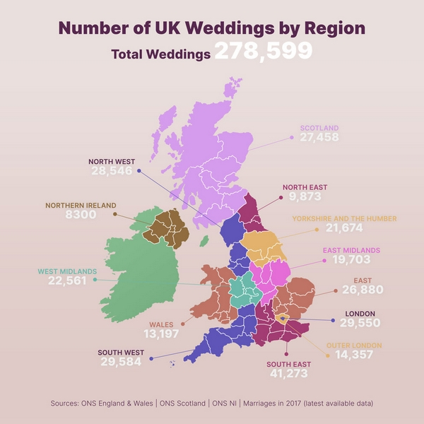 Map showing number of UK weddings by region